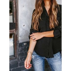 VICI | Au Courant Tencel Button Down Frayed Top